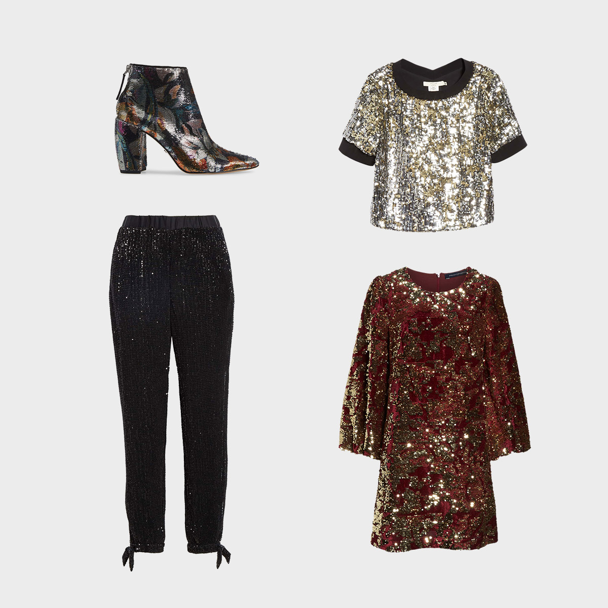 Three women's fashion items featuring sequins.