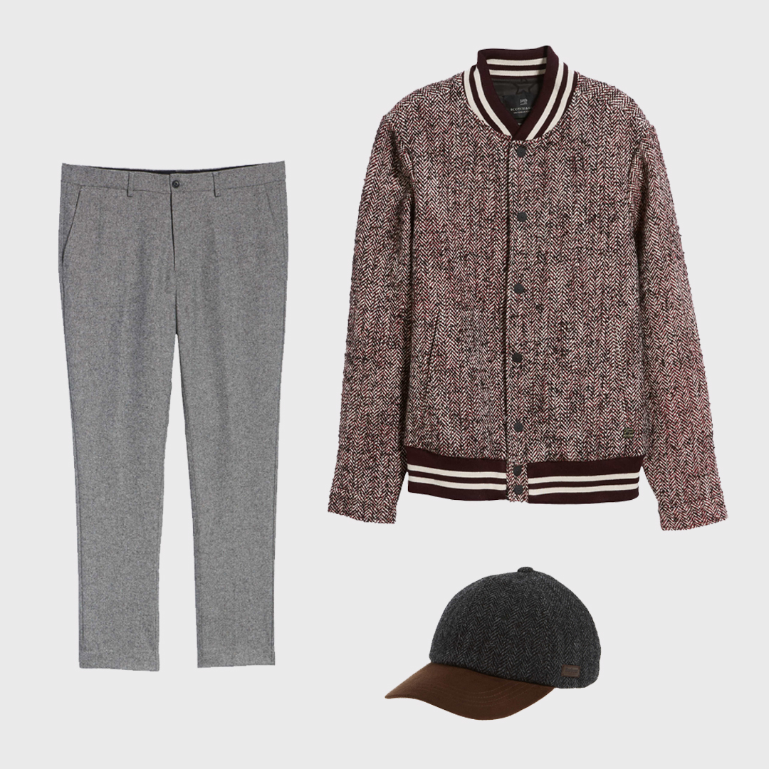 Tweed varsity jacket, slacks, and cap.