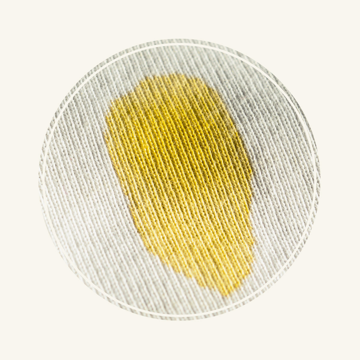 Yellow stain on garment.
