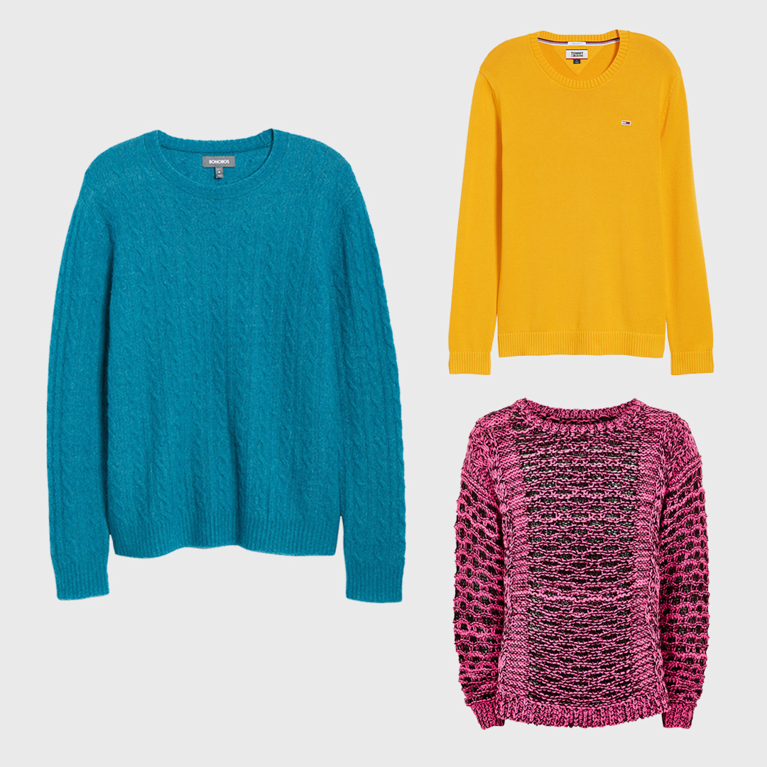 Colored statement sweaters.