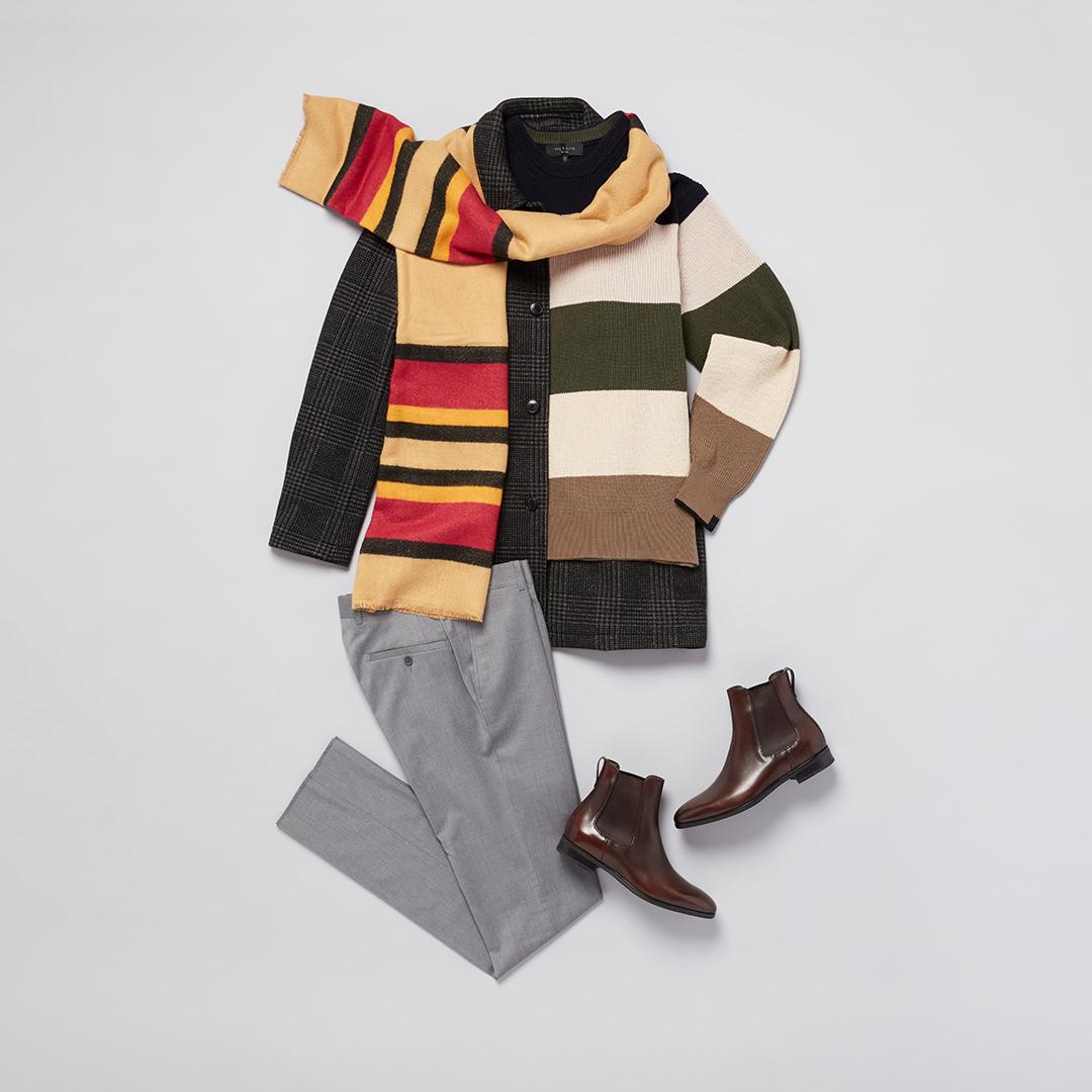 Formal coat, scarf, and slacks.