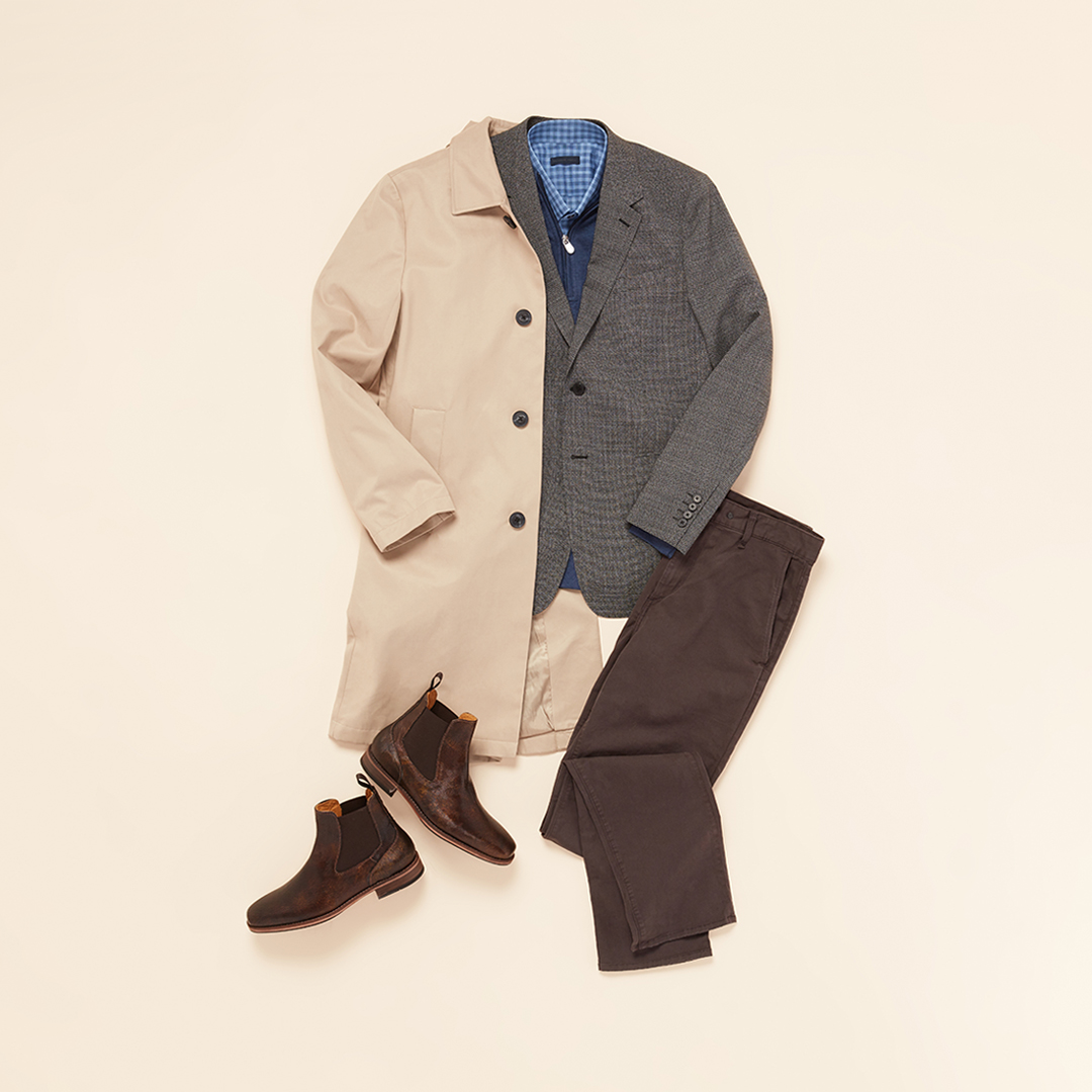 Tan coat with brown pants.