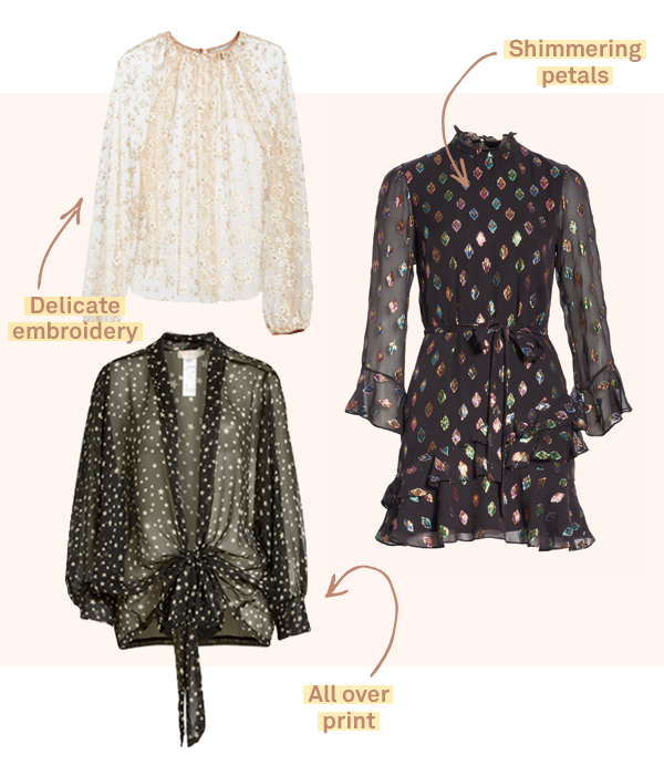 Sheer blouses and dress.