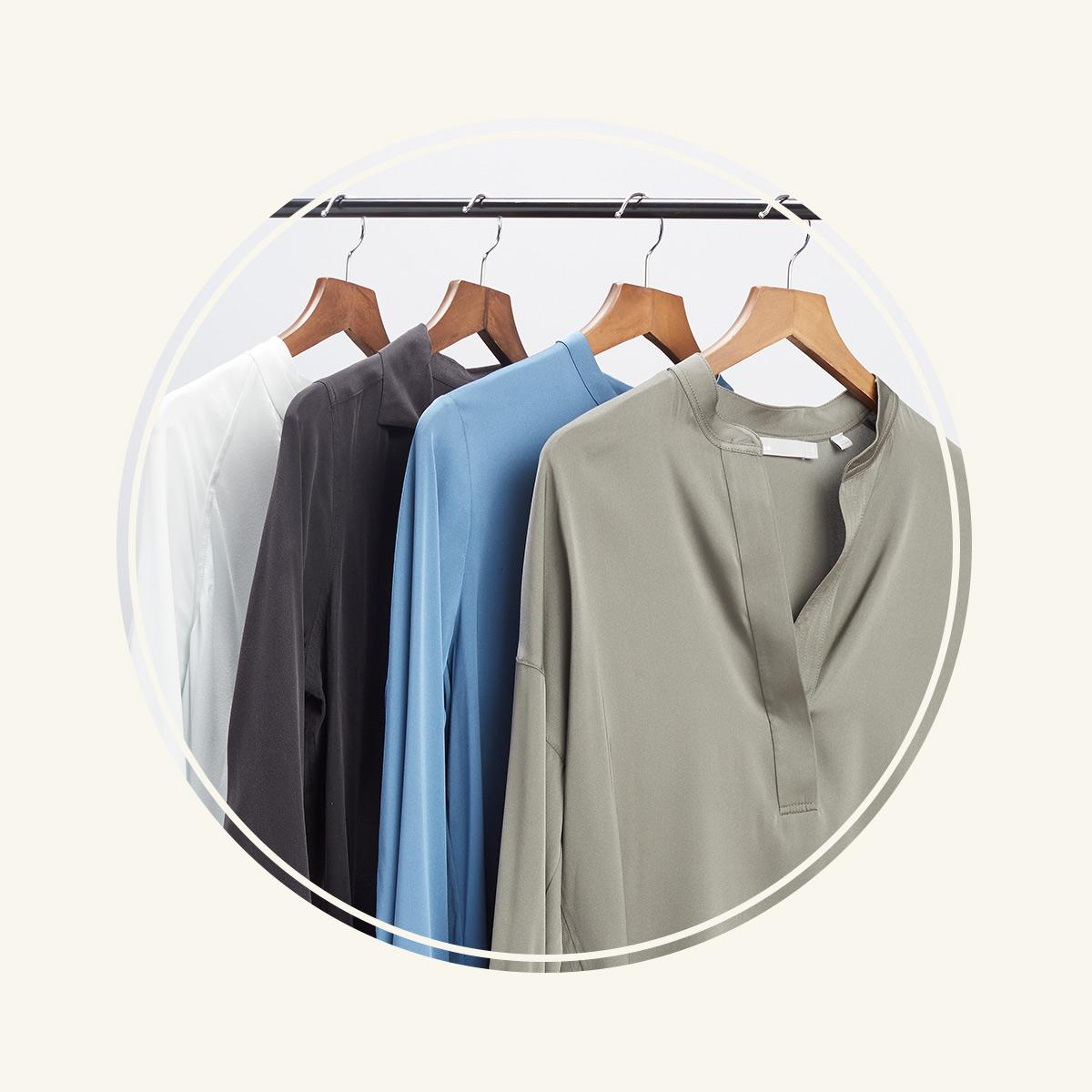silk blouses on hangers