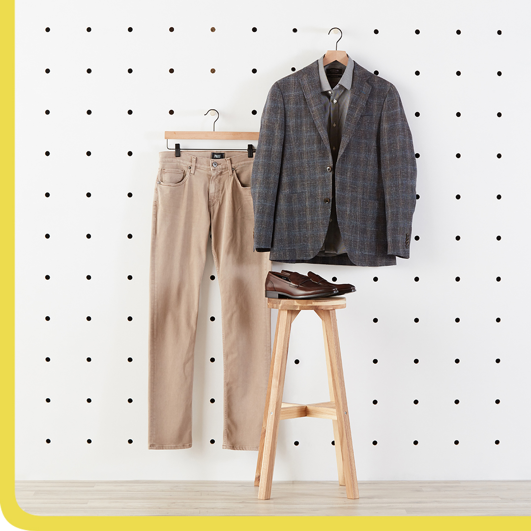 Checkered blazers, tan slacks, and brown shoes.