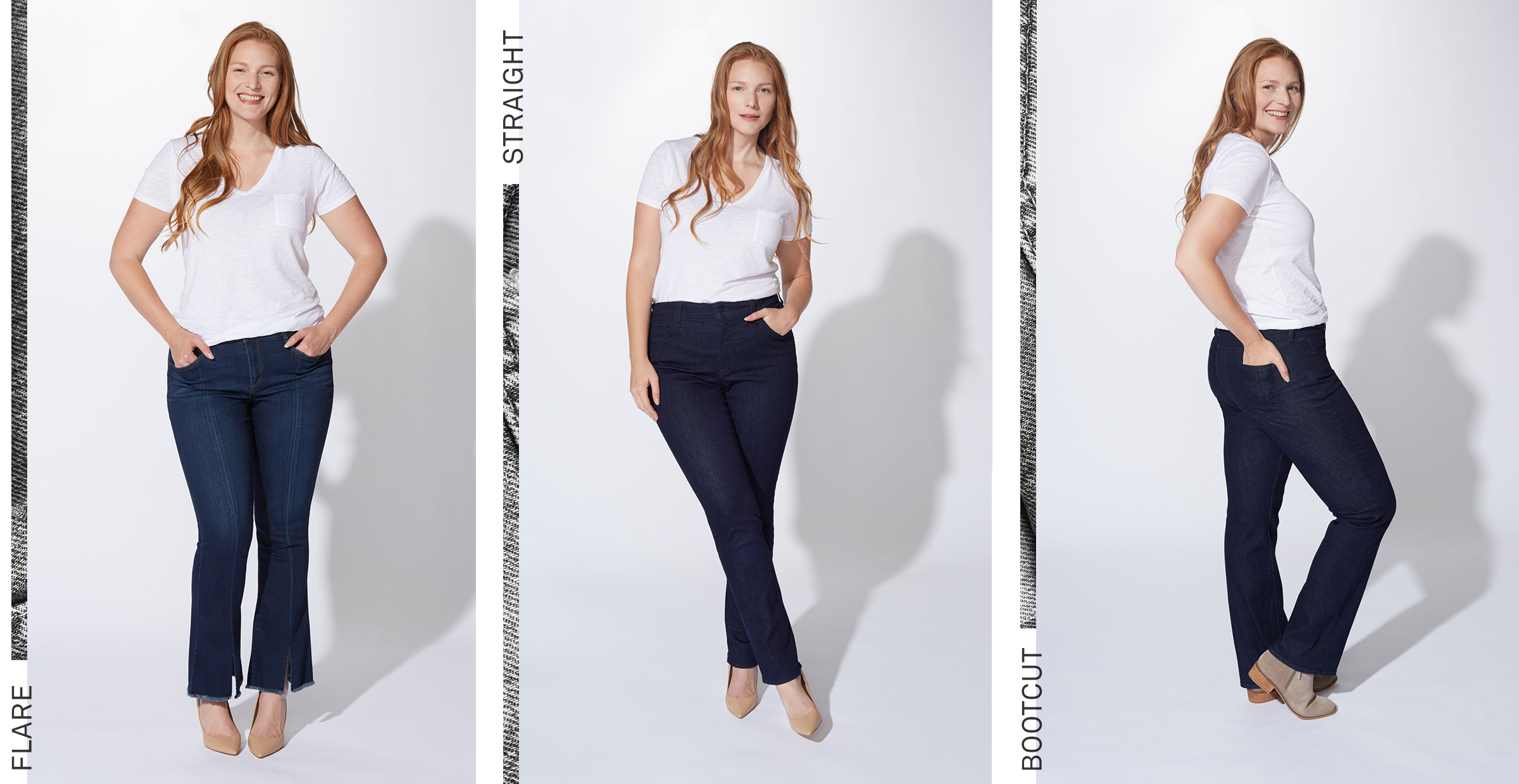 16fb2862dc9186 Super-slim denim has the potential to only exaggerate a triangular shape.  Instead, try silhouettes that create some breathing room on bottom, like  straight, ...