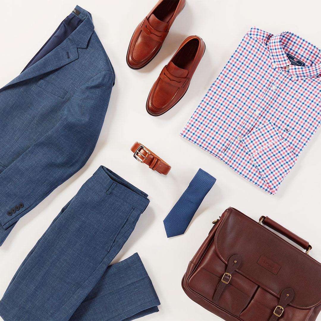 Men's powder blue linen suit