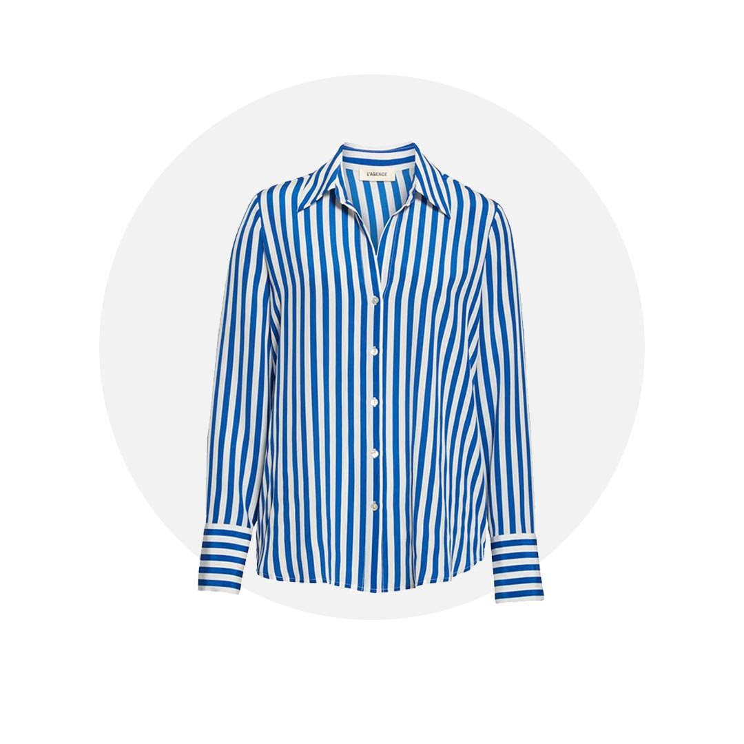 Blue and white striped button-down