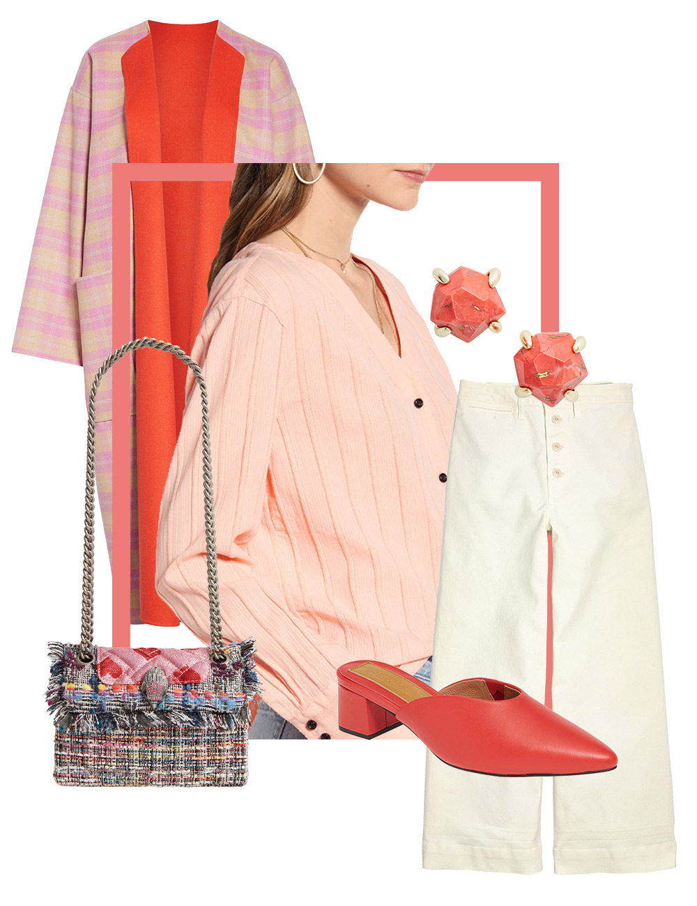 Women's statement coat outfit collage