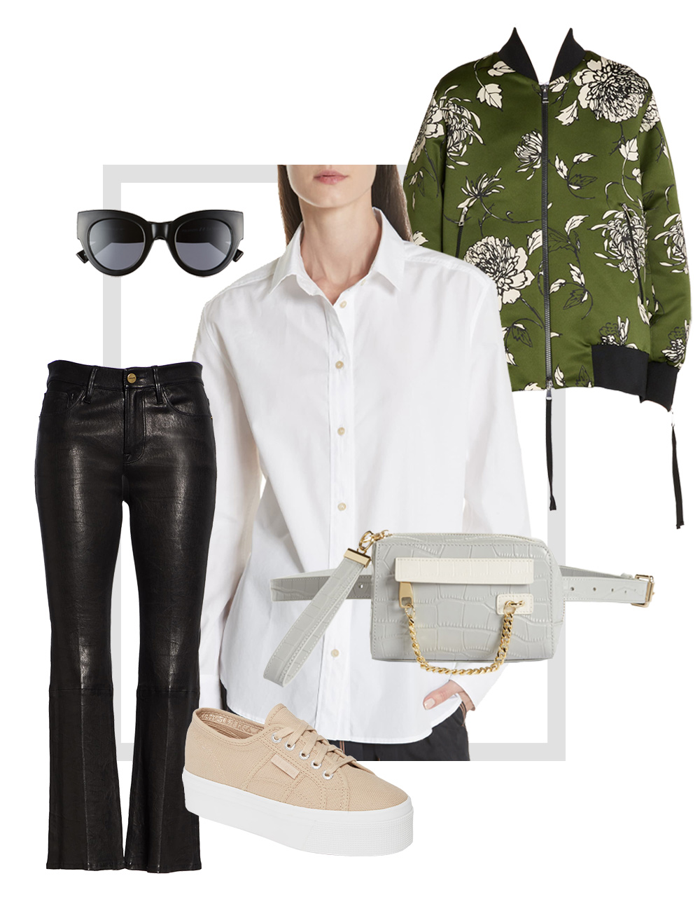 Women's leather pants and printed jacket outfit collage