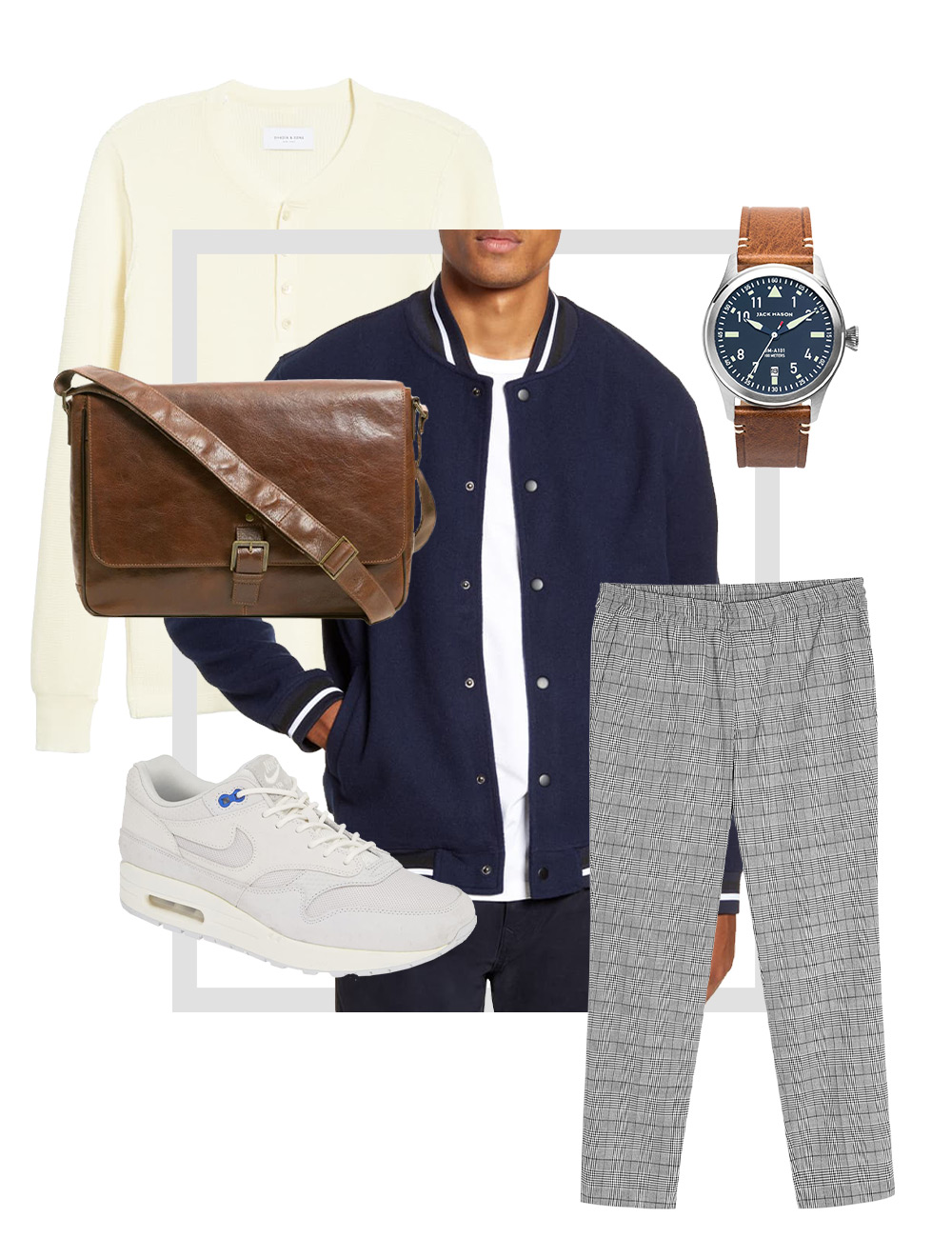 Men's gray pants outfit collage