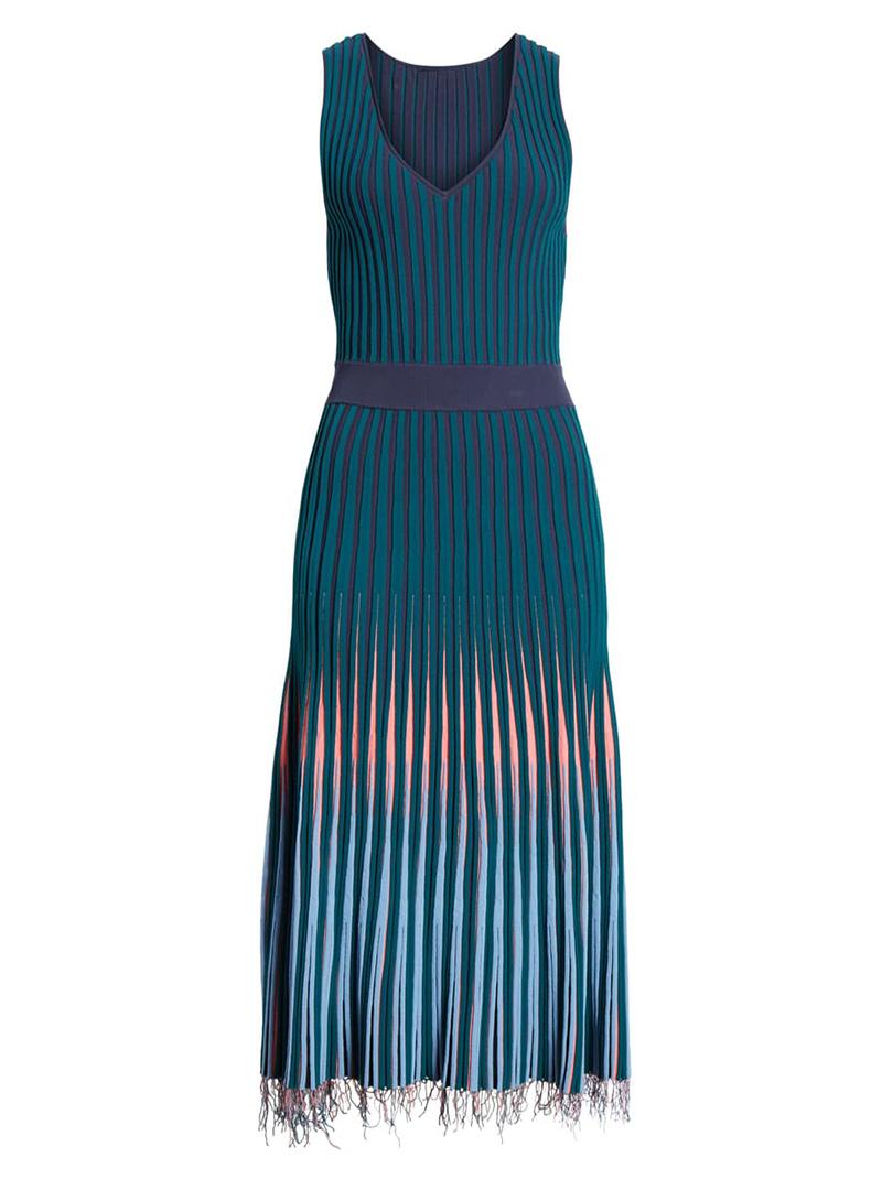 Blue fall boho dress