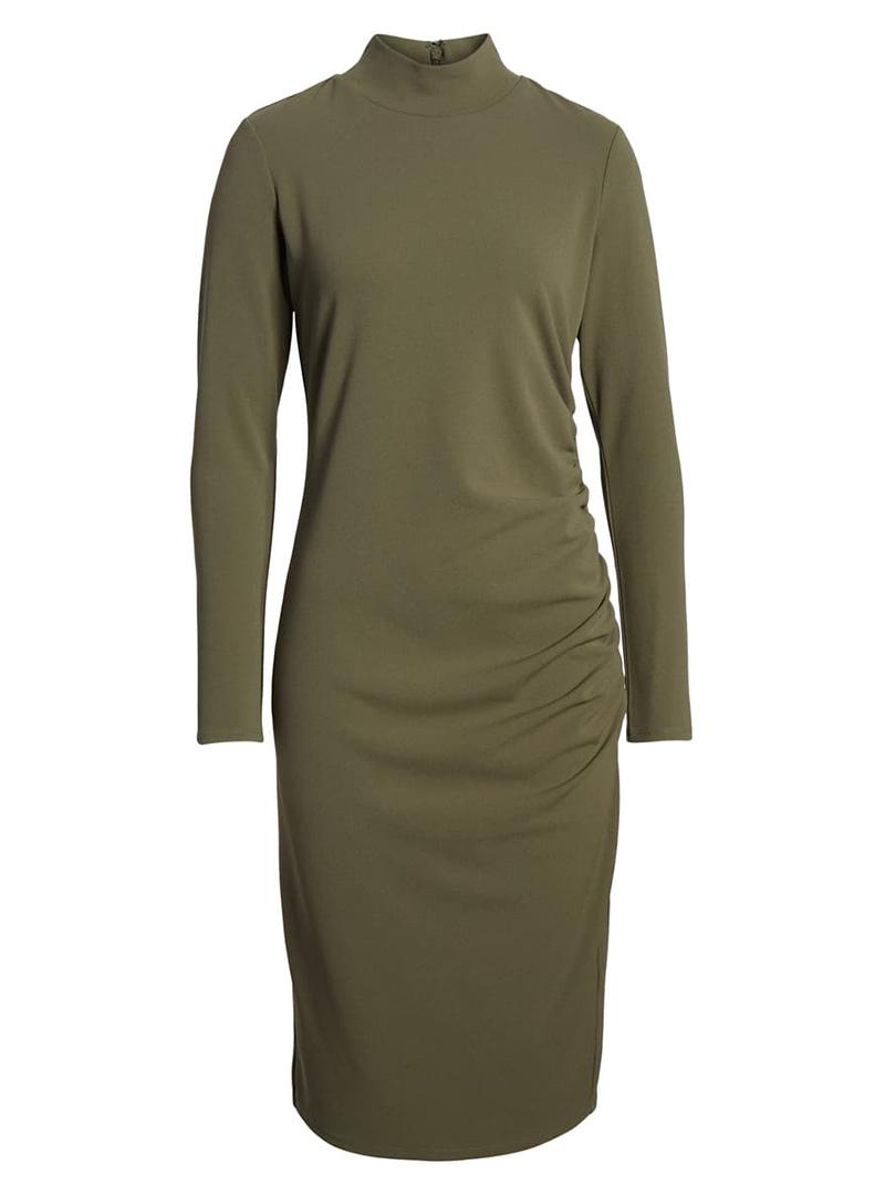 Green mock turtleneck dress