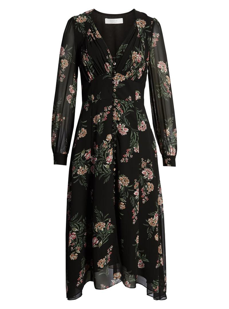Long fall dark floral dress