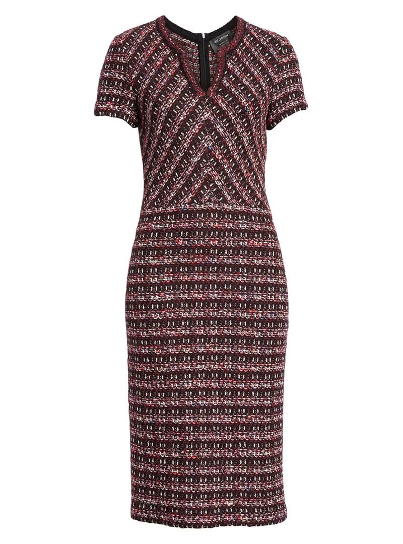 Tweed burgundy fall dress
