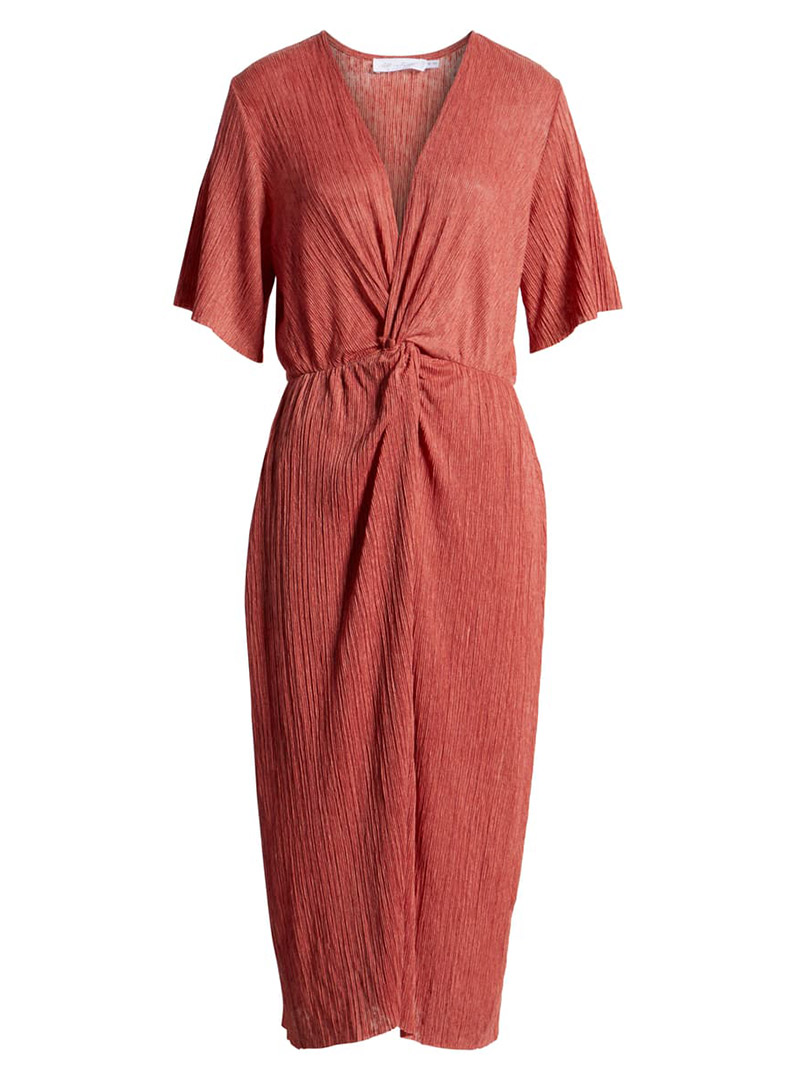 Living Coral twist-front dress
