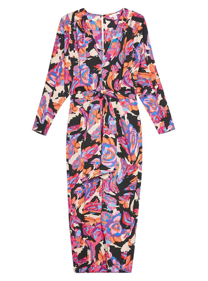 Pink, orange, and black long-sleeve maxi dress