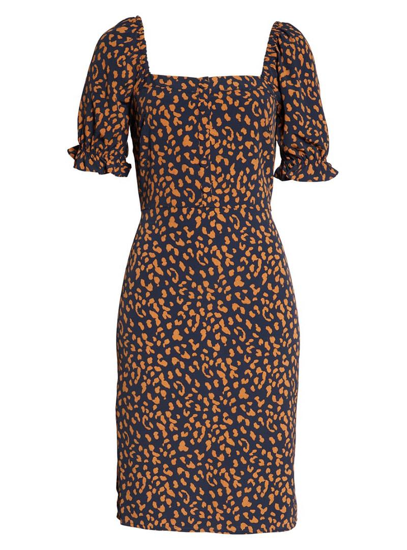 Blue and orange square neck leopard dress