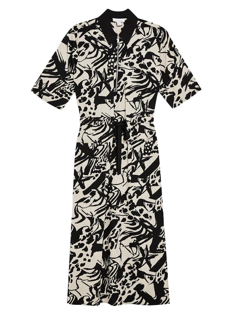 Black and white collared midi dress