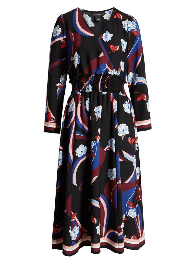 Mixed print faux wrap dress