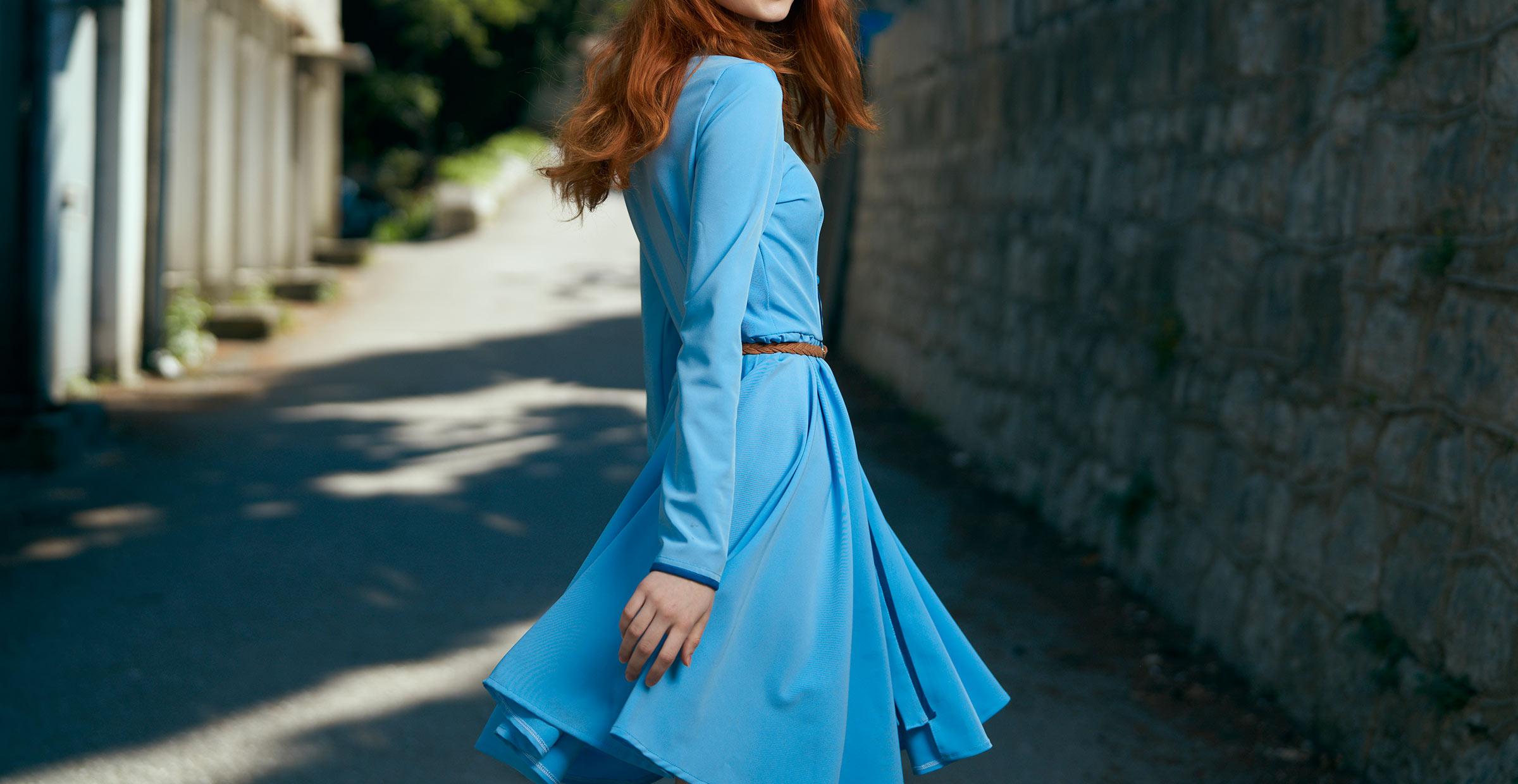 Long-sleeve blue fall dress