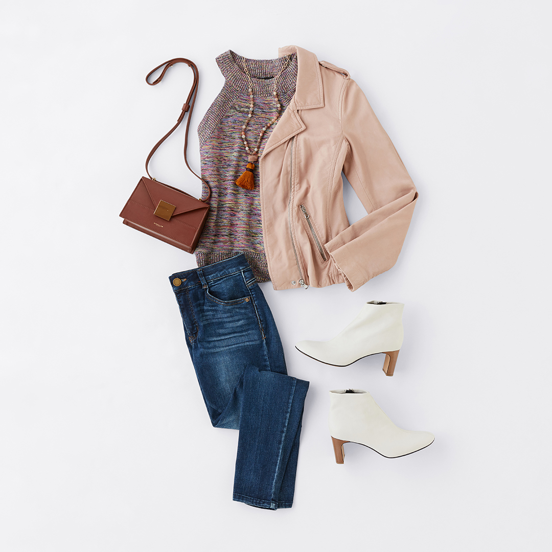 Women's leather jacket and jeans outfit