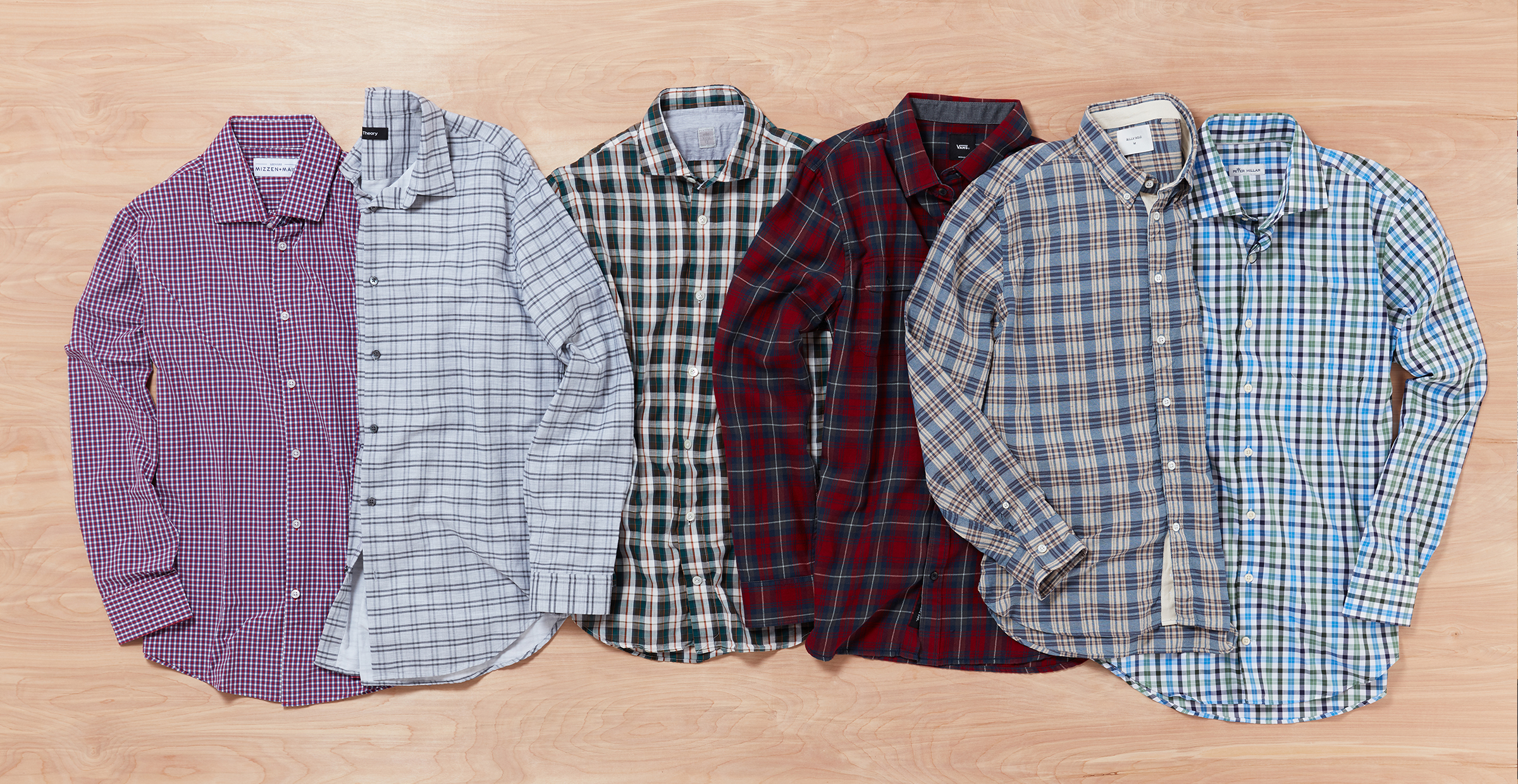 Variety of men's plaid shirts