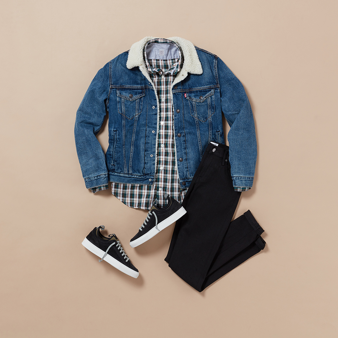 Men's casual plaid outfit