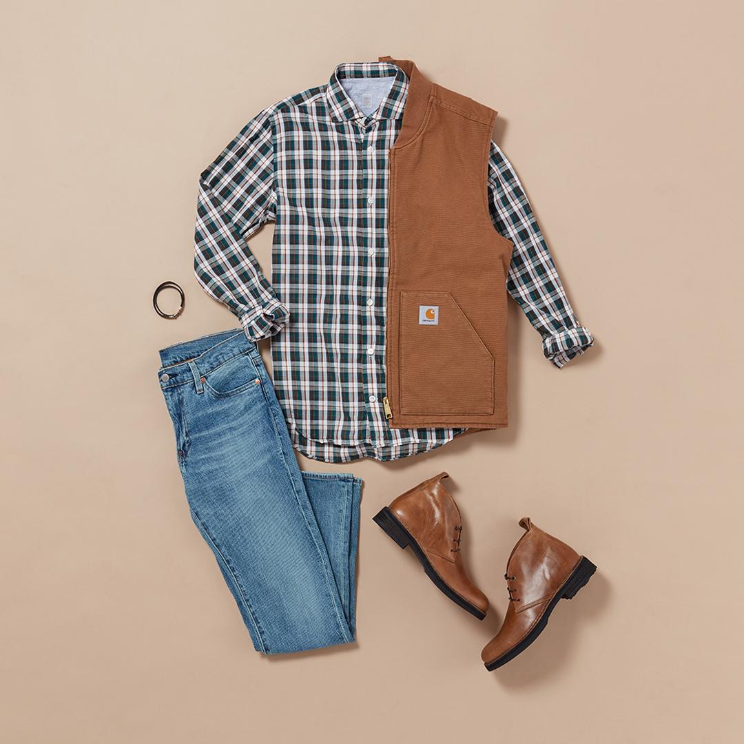 Men's plaid outfit with vest
