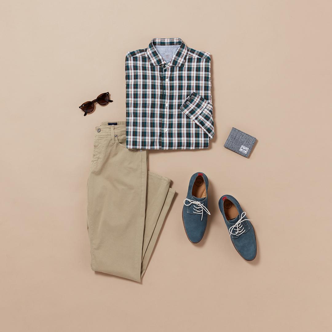 Men's smart casual plaid outfit
