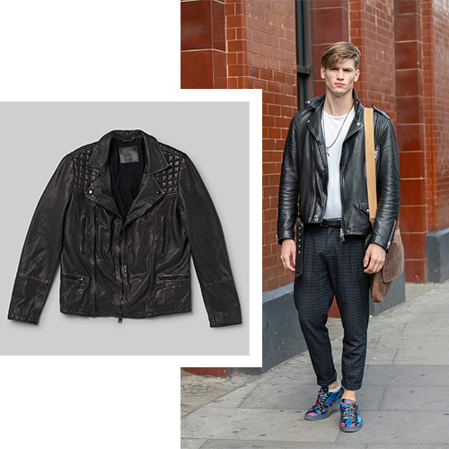 Men's fall leather jacket and jeans outfit