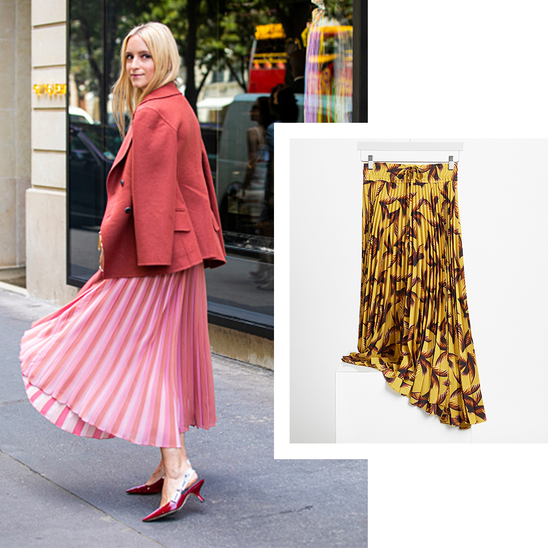 Fall pleated midi skirts