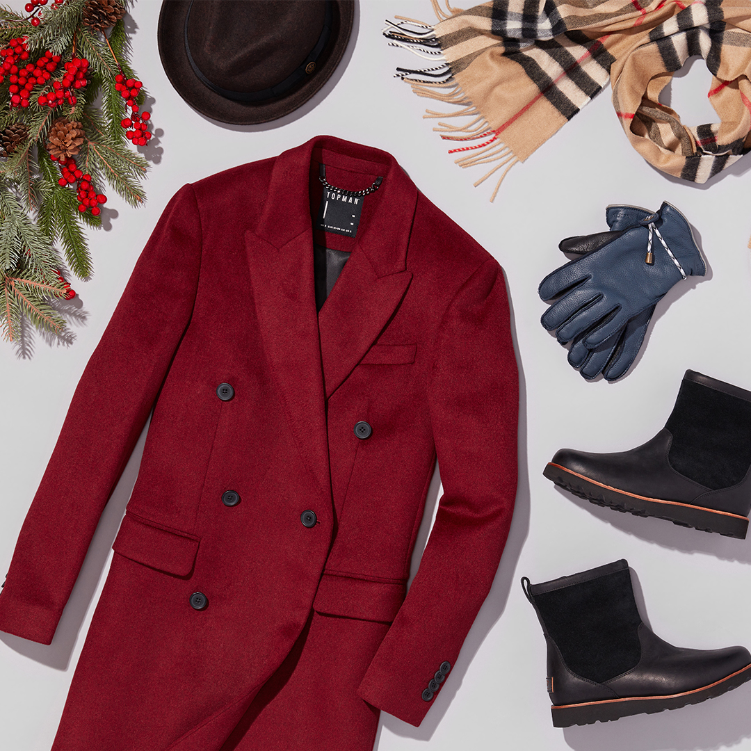 Men's red wool coat with boots