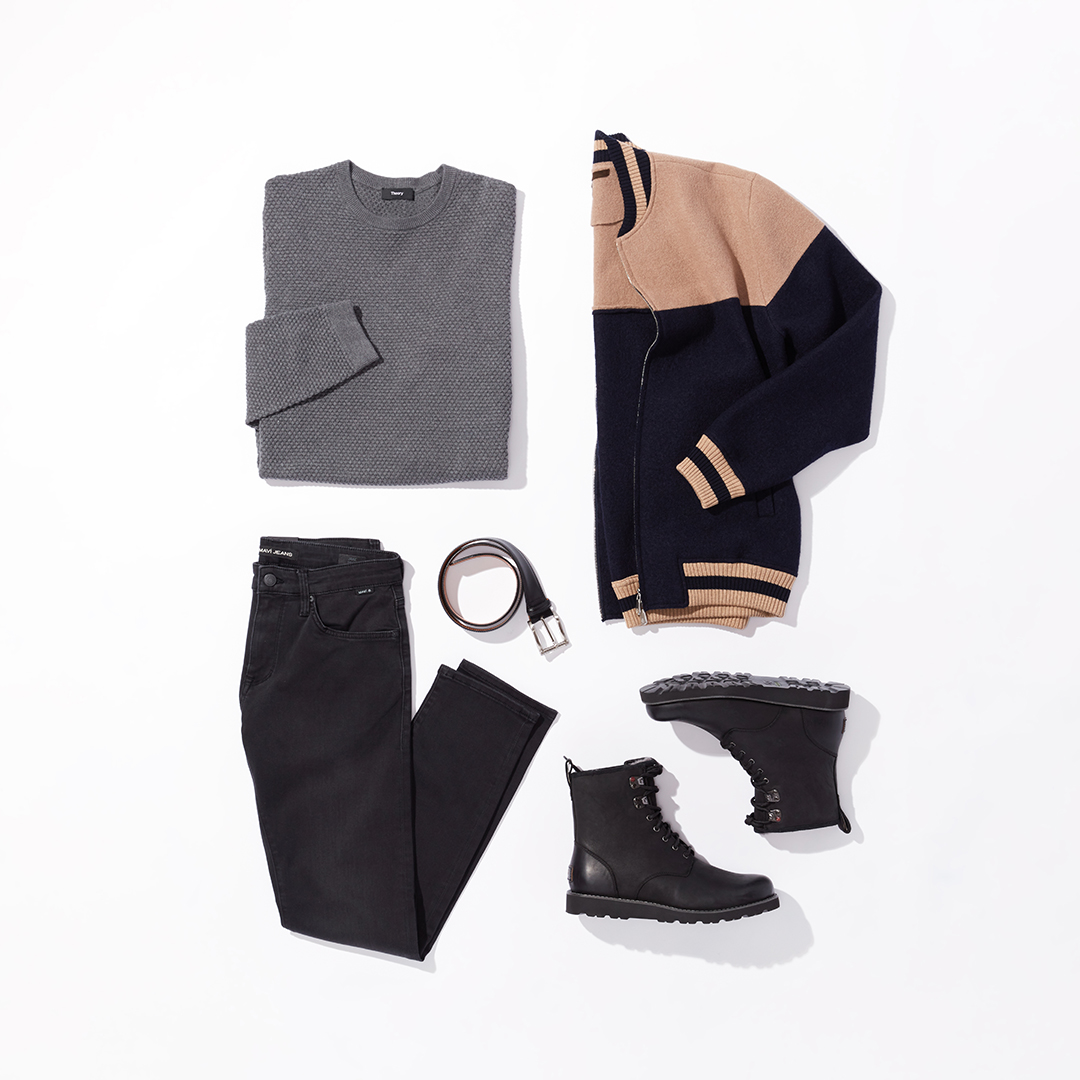 Men's statement coat winter outfit