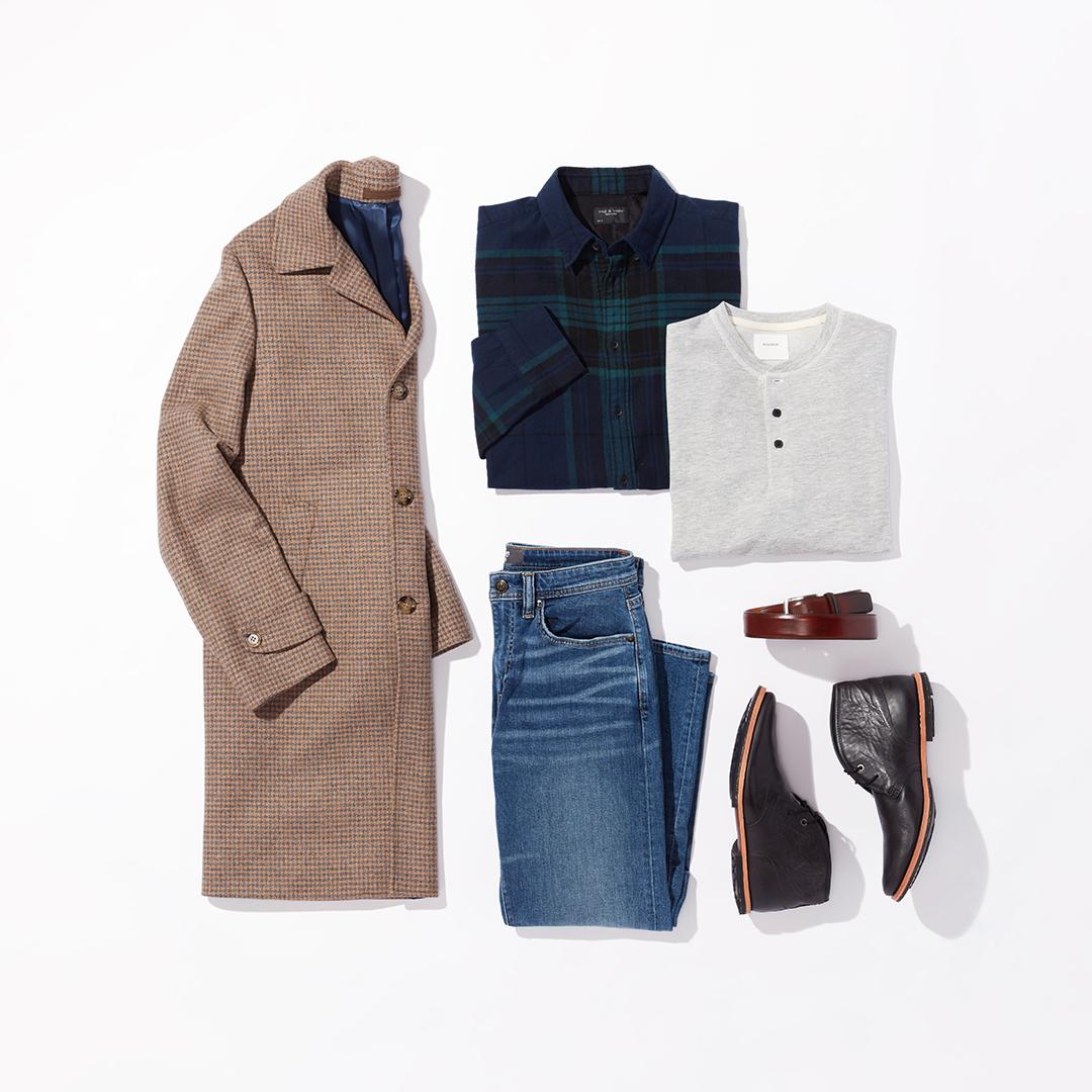 Men's statement shirt winter outfit