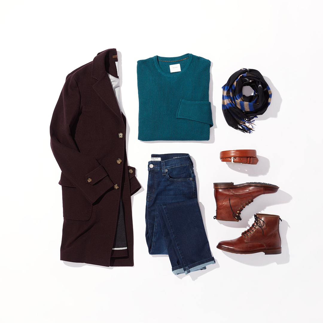 Men's statement scarf winter outfit