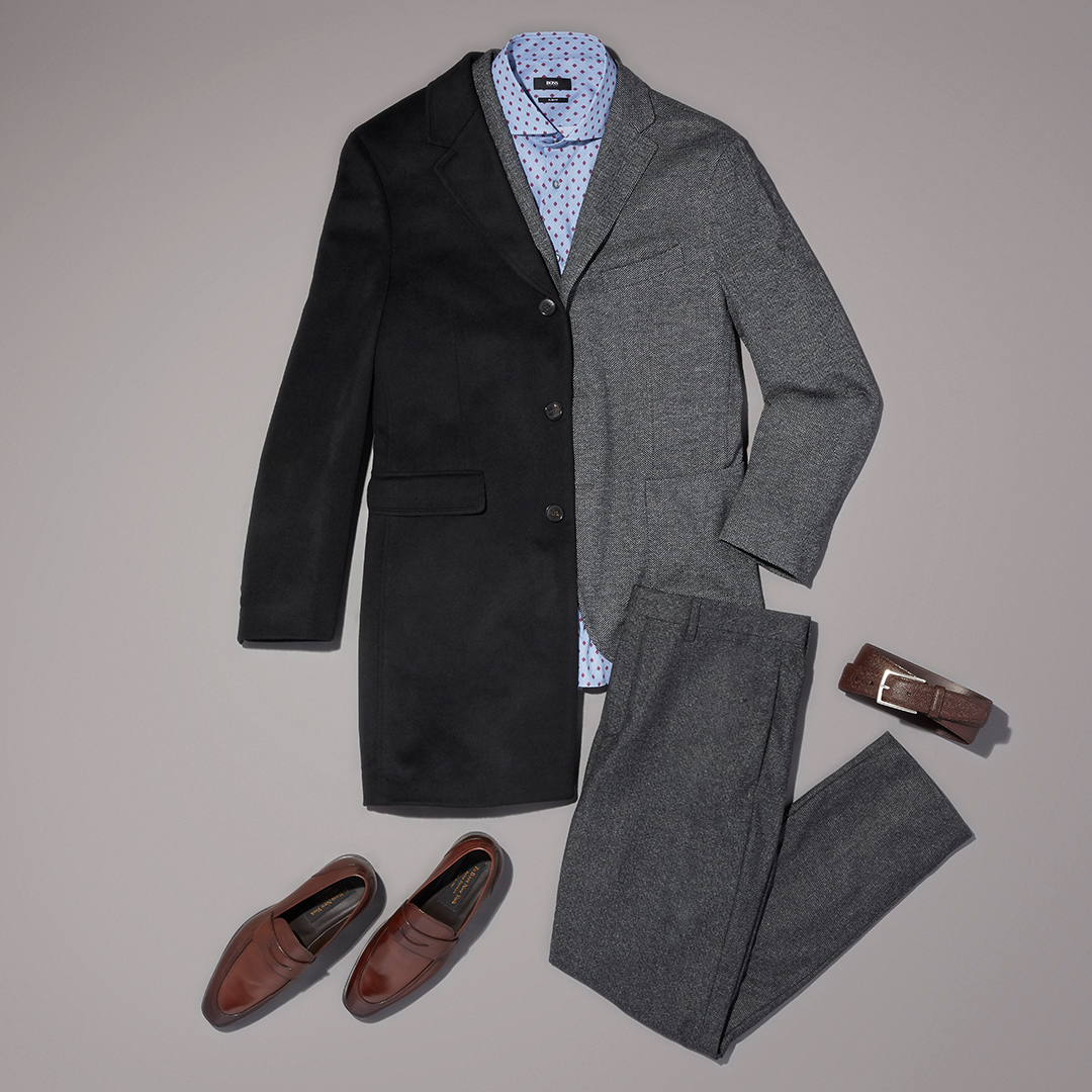Men's contrasting textures workwear outfit