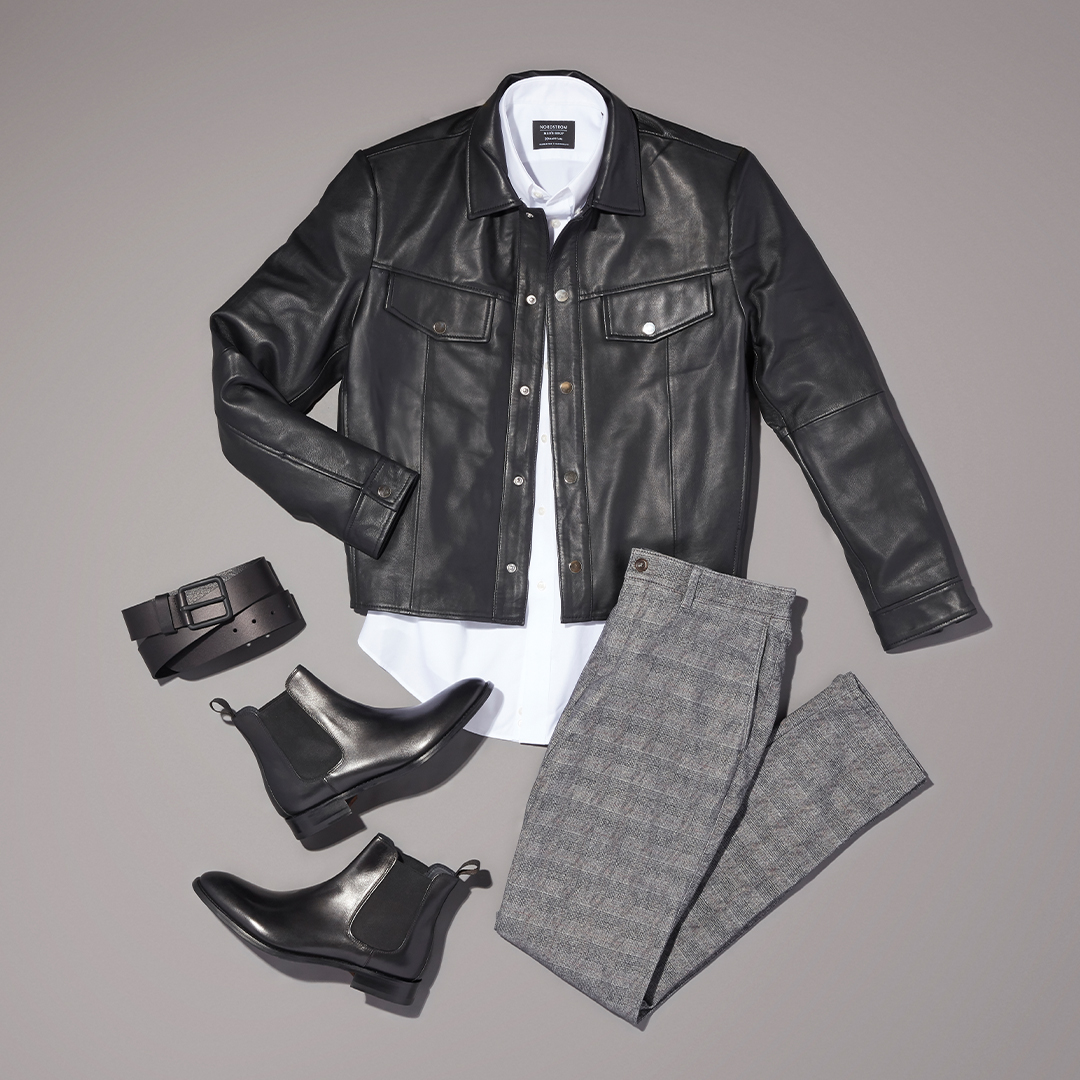 Men's pop of color workwear outfit