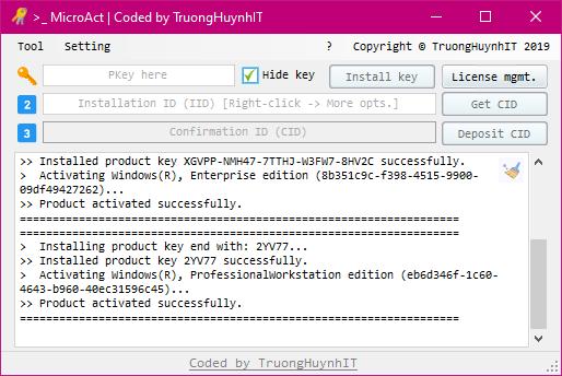 Tính năng ẩn key để tránh bị lộ key, đồng thời thể hiện 1 số lỗi khi nạp key
