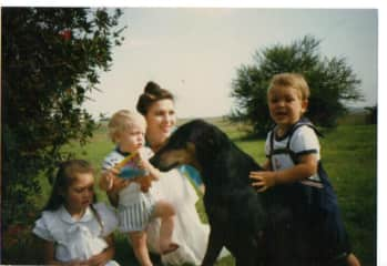 Our Kidz and Sasha, our Doberman. 1990