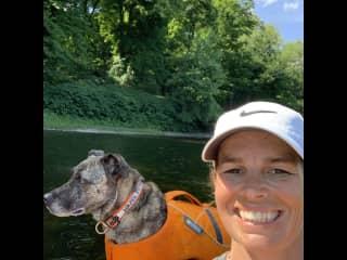 Hazel always goes kayaking with me.