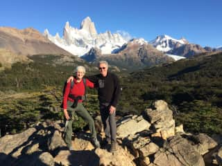 Chris and Mark trekking in Patagonia as a retirement celebration, winter 2016