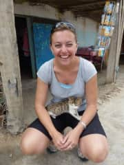 Andrea with a souk cat in North Africa