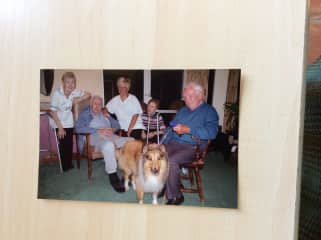 With residents and visiting dog Albert