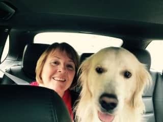 Glenda in our car with Harley