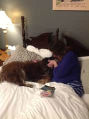 My wife Nancy and our beloved Cisco. Border collie/Aussie shepherd.