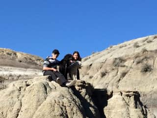 Hiking with our amazing grandkids in the badlands