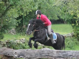 Dancer and me on a cross country day out.