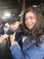 Joanna with a friend's baby