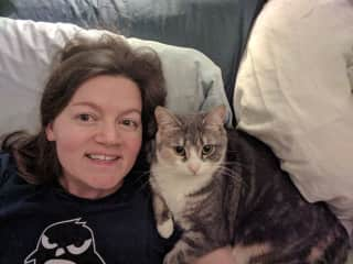 Me with our cat Madame Curie